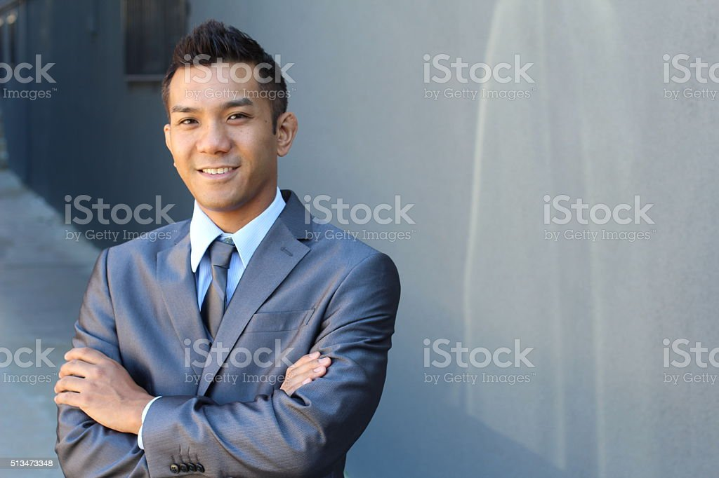 Portrait of a confident Asian lawyer outside stock photo