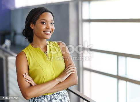 istock Portrait of a confident black businesswoman at work in her 516039768