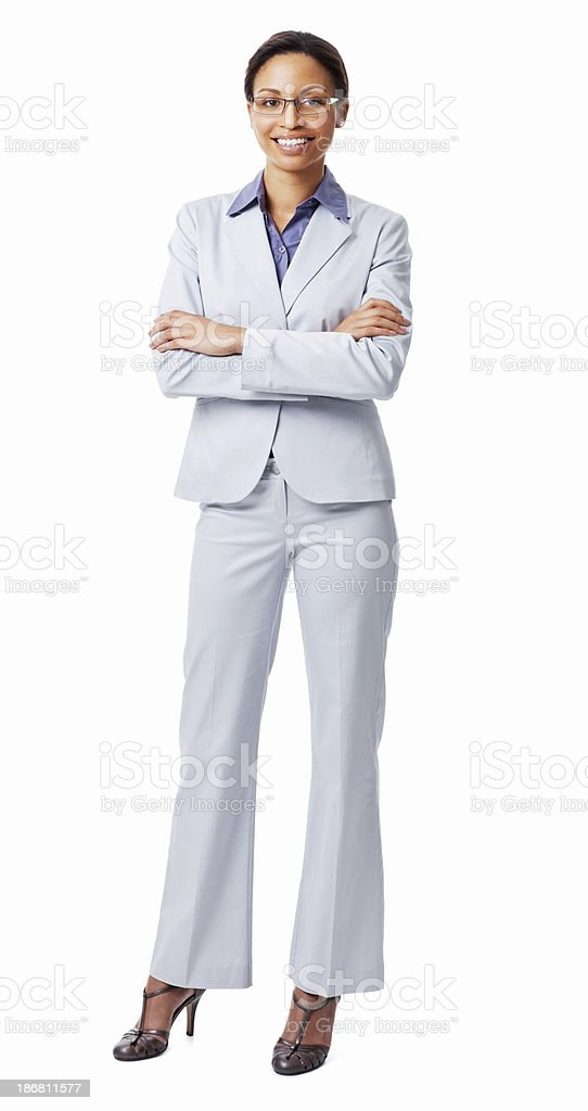 Portrait Of A Confident Female Executive Smiling - Isolated stock photo