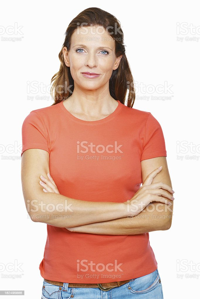 Portrait of a confident mid adult lady against white stock photo