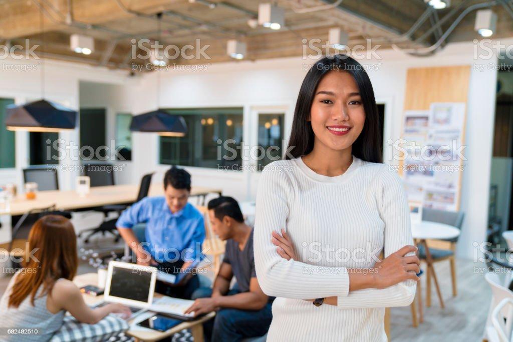 Portrait of a confident young female entrepreneur stock photo