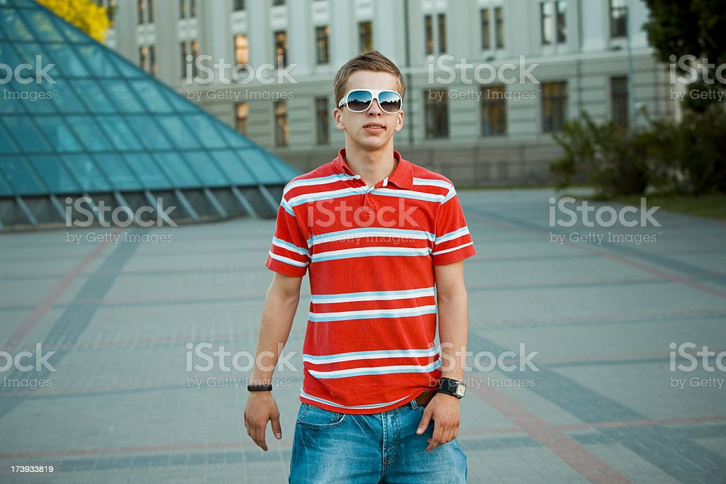 Portrait of a content young guy royalty-free stock photo