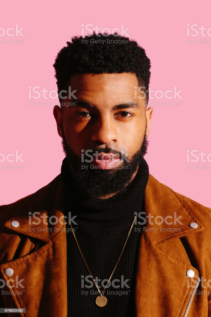 Portrait of a cool, handsome man stock photo