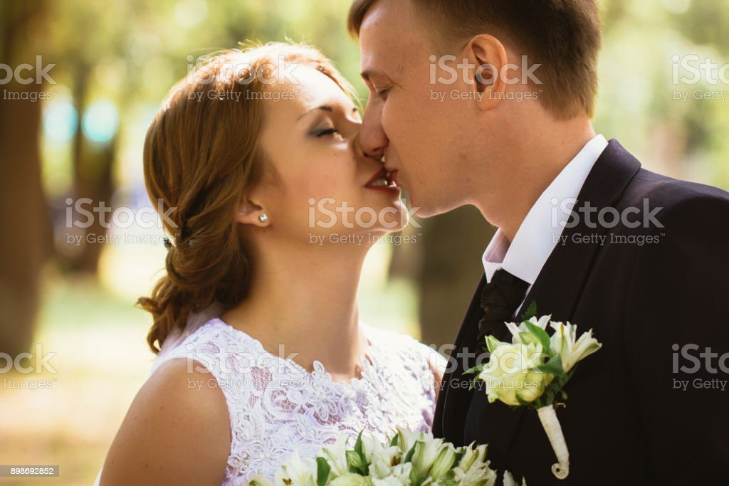portrait of a couple bride and groom on  park background stock photo