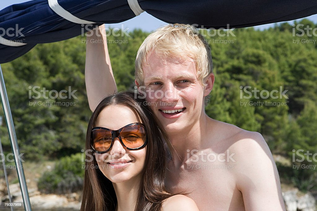 Portrait of a couple on a yacht royalty-free 스톡 사진
