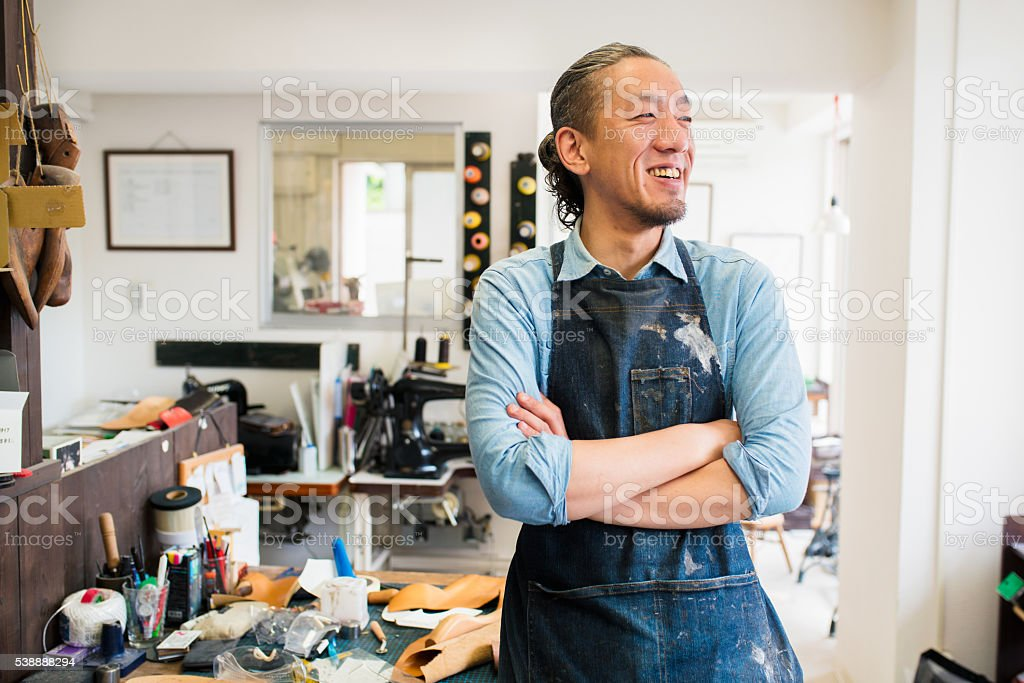 Portrait of a craftsman stock photo
