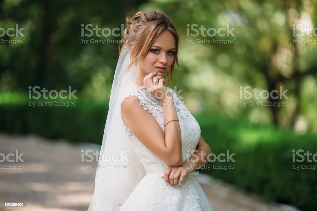 Portrait of a crafty bride who conceived something. A girl is posing in a lace wedding dress. The blonde is getting married today zbiór zdjęć royalty-free