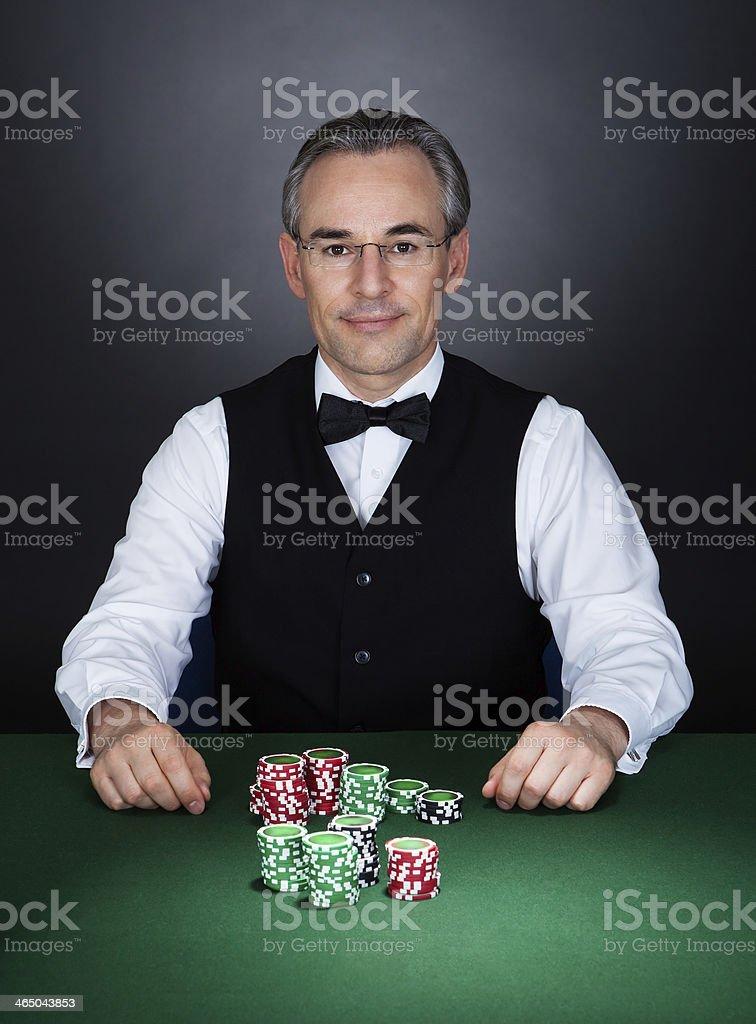 Portrait of a croupier stock photo