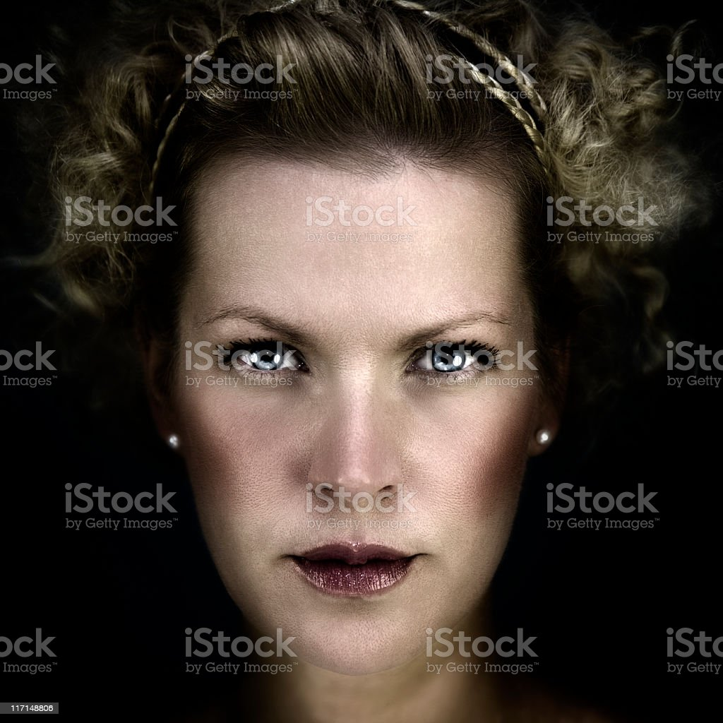 Portrait of a curly girl royalty-free stock photo