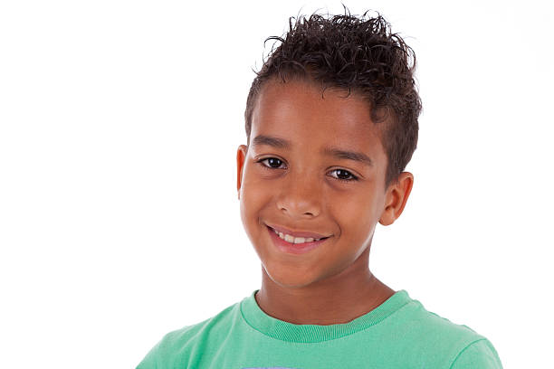 Portrait of a cute african american little boy stock photo