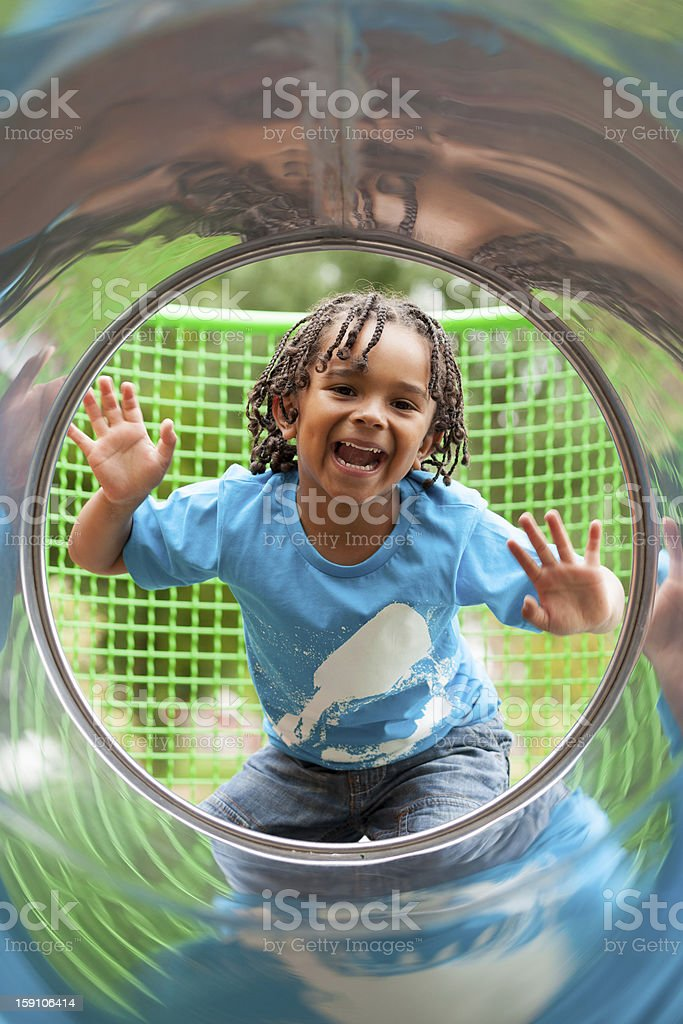 Portrait of a cute african little boy at playground royalty-free stock photo