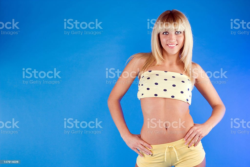 Portrait of a cute blonde girl stock photo