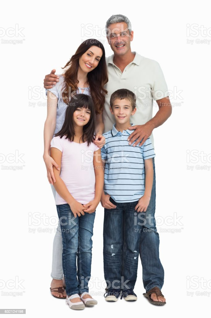 Portrait of a cute family stock photo