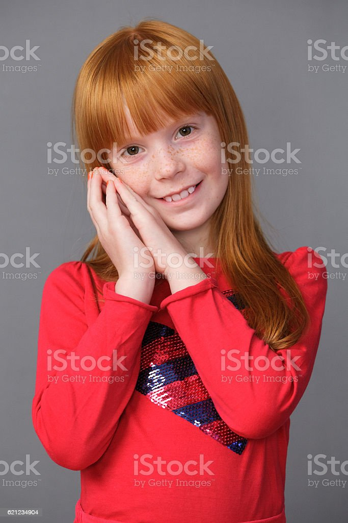 portrait of a cute ginger girl stock photo & more pictures of