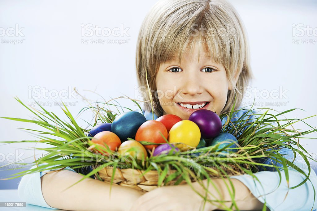 Portrait of a cute little boy with Easter eggs royalty-free stock photo
