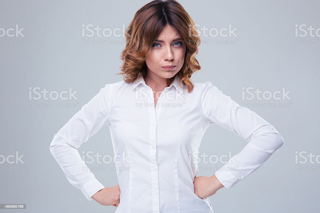 Portrait of a cute offended woman stock photo