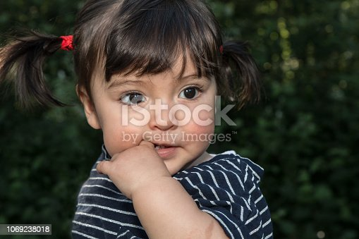 Portrait of a cute toddler girl with black hair in pigtails with her finger in her mouth