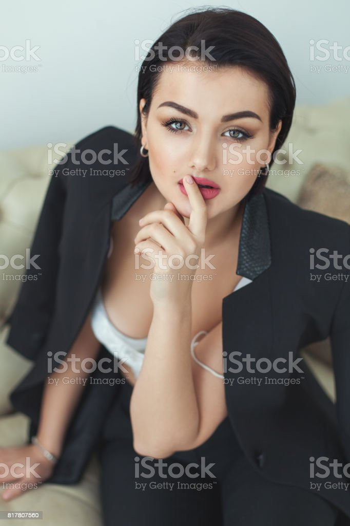 Portrait of a cute woman. stock photo