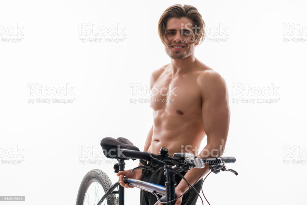 Portrait of a cyclist with mountain bike royalty-free stock photo