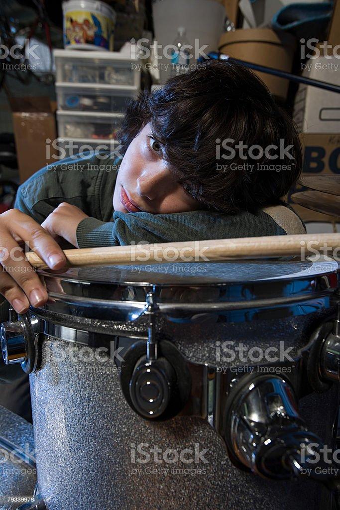 Portrait of a drummer 免版稅 stock photo
