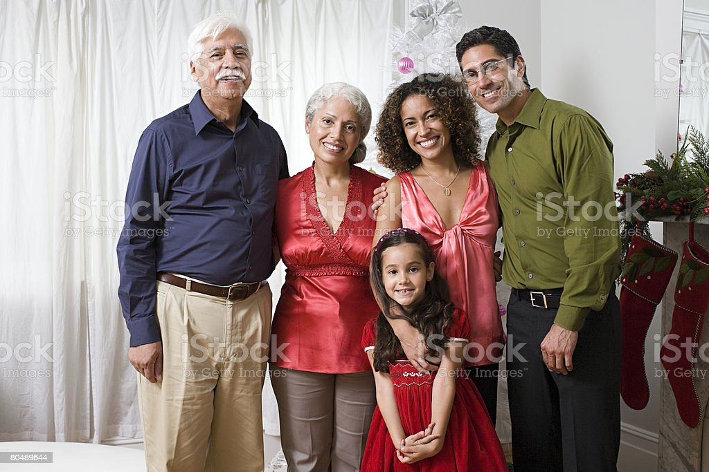 Portrait of a family at christmas royalty-free 스톡 사진