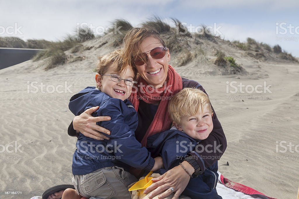 Portrait of a Family at the Beach royalty-free stock photo