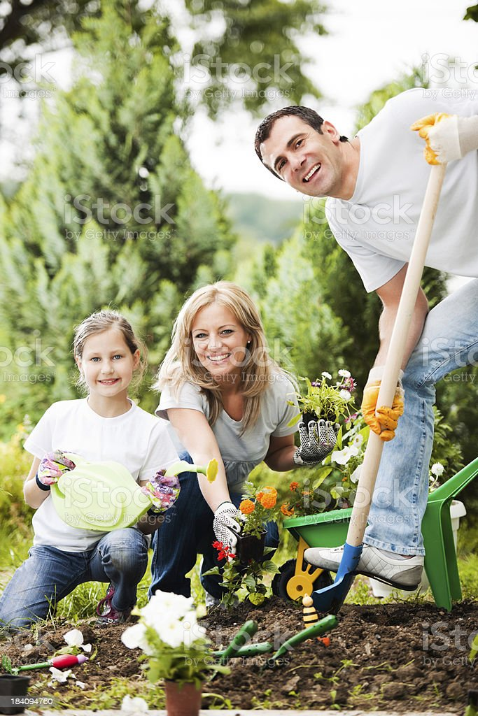 Portrait of a family gardening. royalty-free stock photo