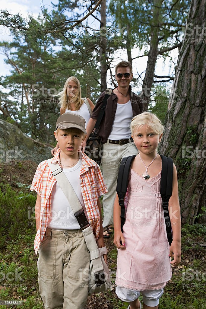 Portrait of a family in a forest royalty-free stock photo