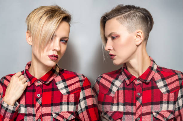Portrait of a fashion blonde with short hair stock photo