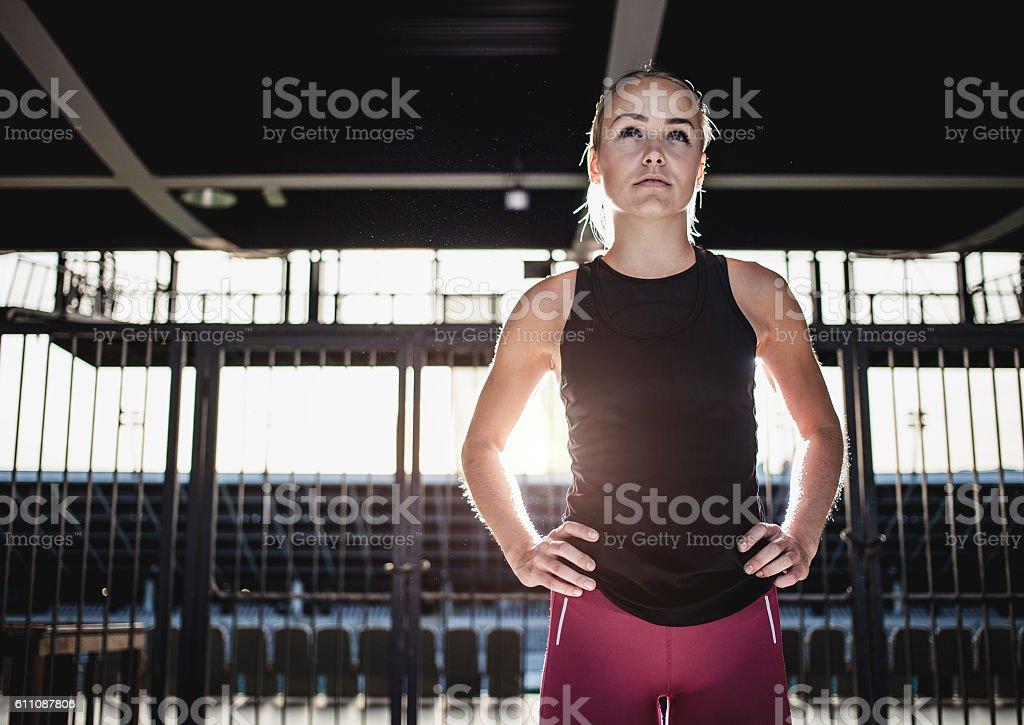 Portrait of a Female Athlete stock photo
