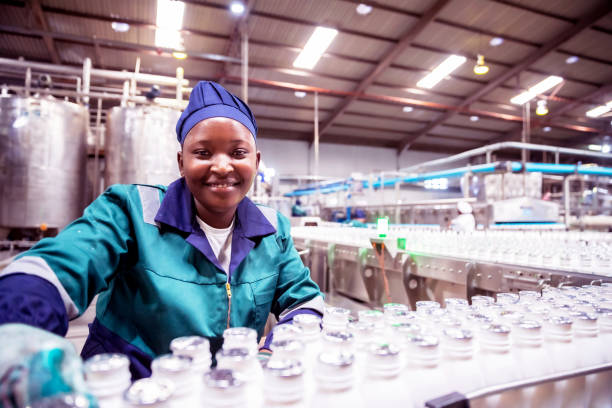 Portrait of a Female Factory Worker in Africa stock photo