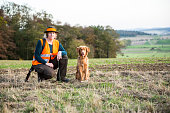 Portrait, dog, hunter, woman, outdoors