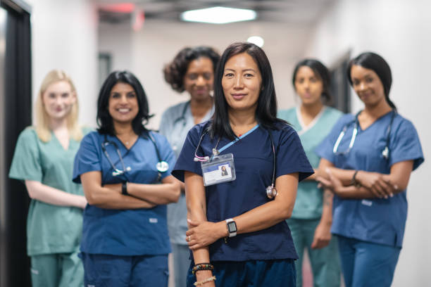 Portrait of a female medical team stock photo