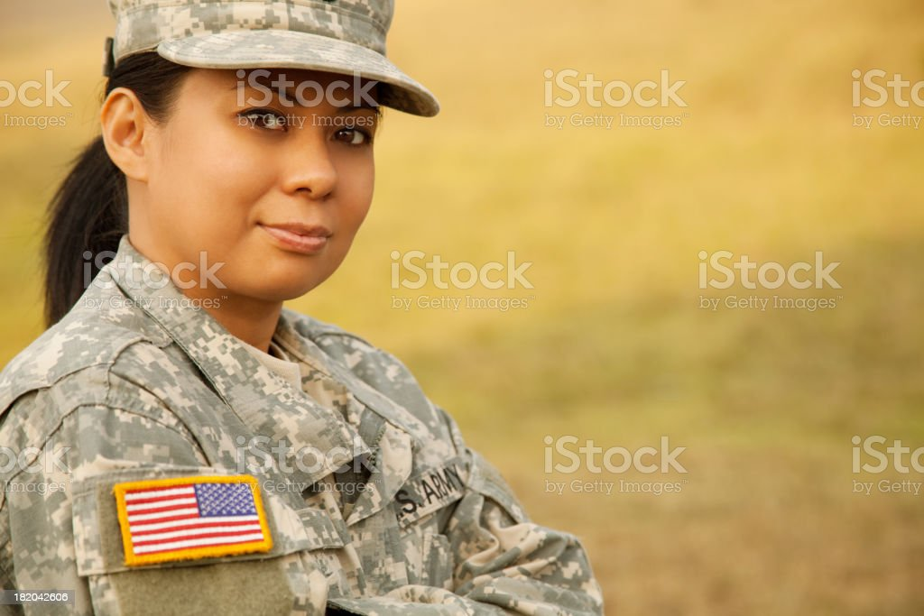 Portrait of a female military soldier stock photo