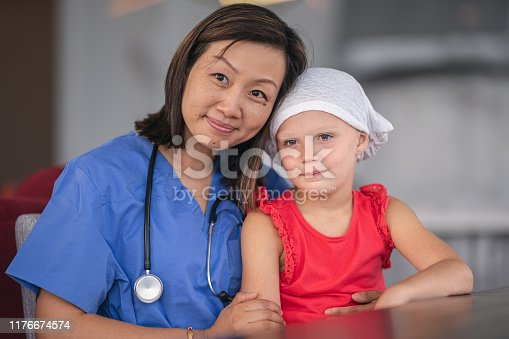 1041630080istockphoto Portrait of a female nurse comforting a girl with cancer 1176674574