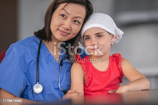 1041630080istockphoto Portrait of a female nurse comforting a girl with cancer 1176674580