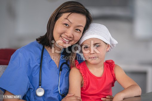 1041630080istockphoto Portrait of a female nurse comforting a girl with cancer 1176674581