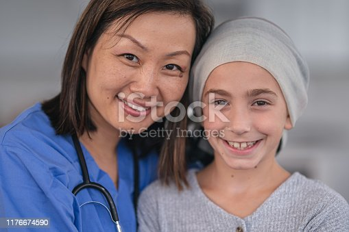 1041630080istockphoto Portrait of a female nurse comforting a girl with cancer 1176674590