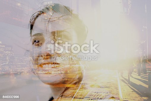 Double exposure photo of a young determined woman during her exploration of cities of the world