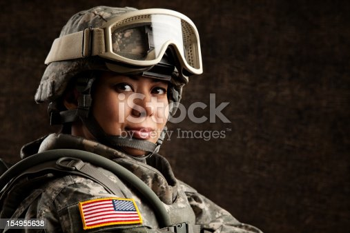 istock Portrait of a Female US Military Soldier 154955638