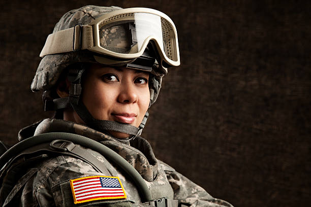 portrait of a female us military soldier - armed forces stock photos and pictures