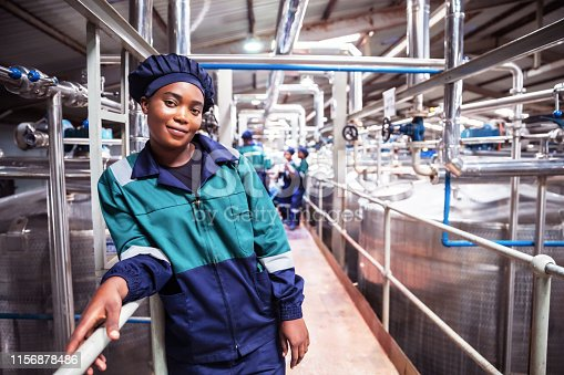 Industry, Business, Production, Processing, Quality Control - Female Factory Engineer Looking at the Camera for a Portrait