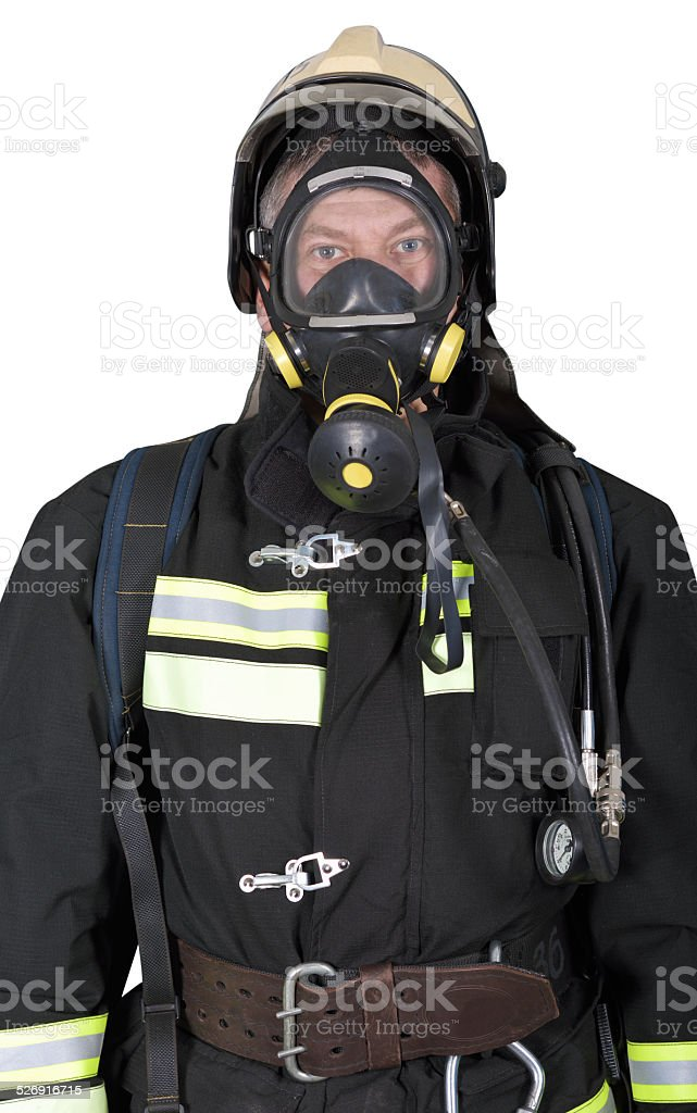 Portrait of a firefighter in breathing apparatus stock photo