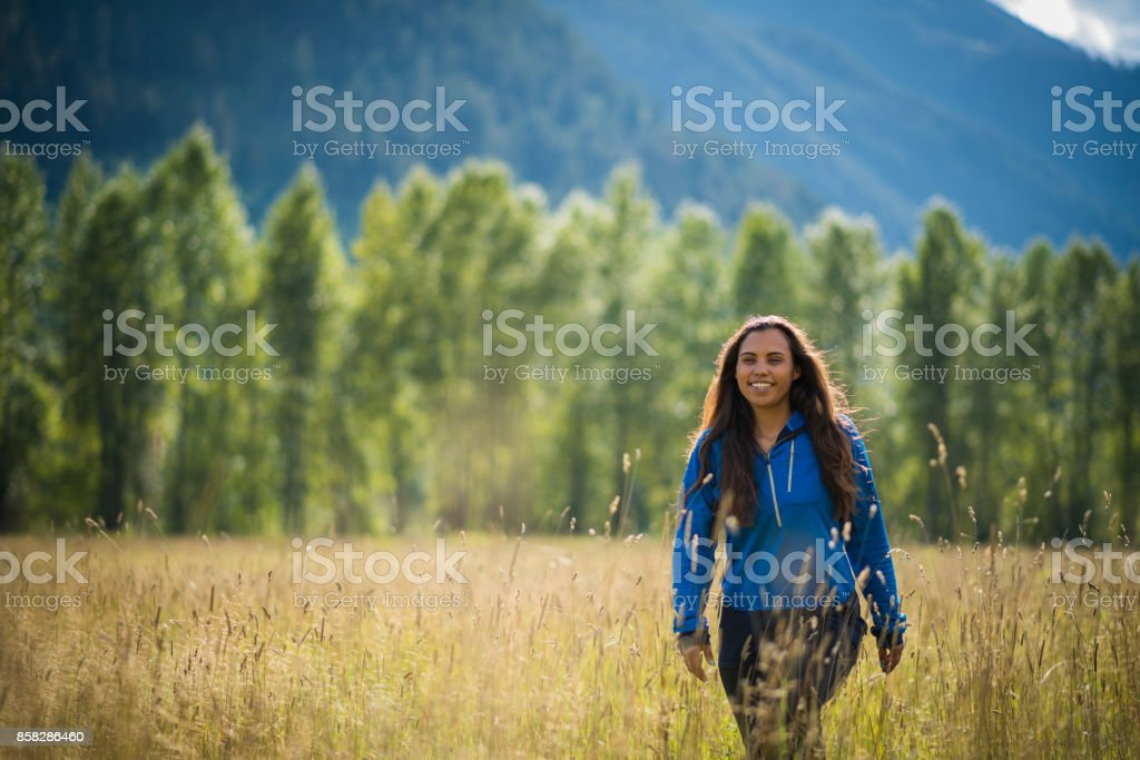 Portrait of a First Nations Canadian Woman stock photo