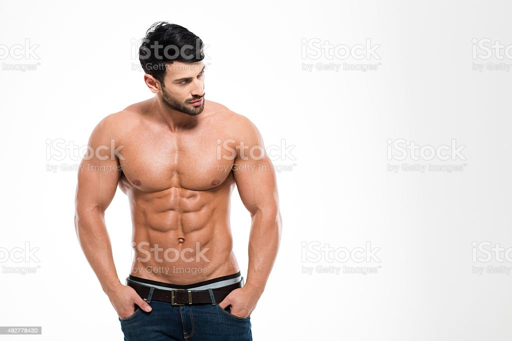 Portrait of a fitness man with nude torso stock photo