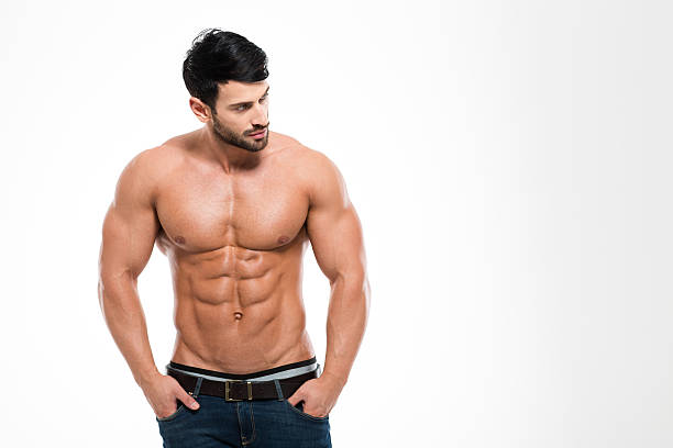 portrait of a fitness man with nude torso - testosterone stock pictures, royalty-free photos & images