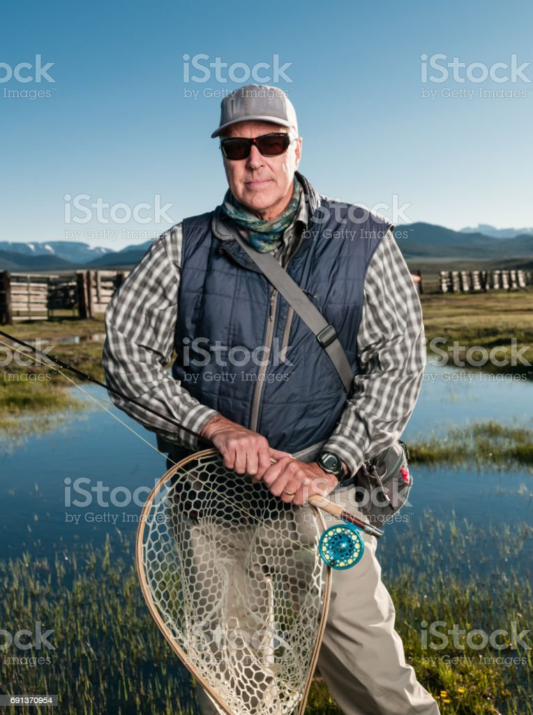 Portrait of a Fly Fishermen stock photo