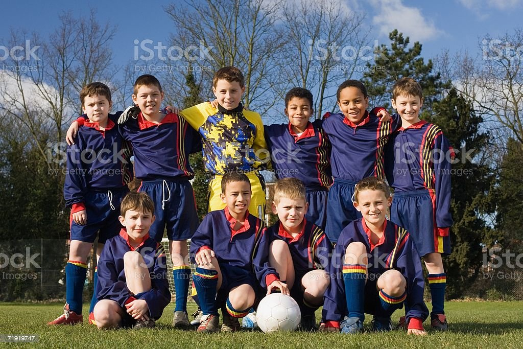 Portrait of a football team royalty-free stock photo