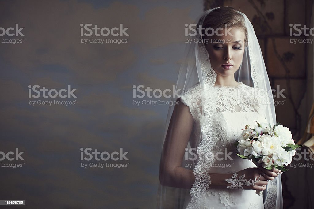 Portrait of a fresh and lovely beautiful bride stock photo