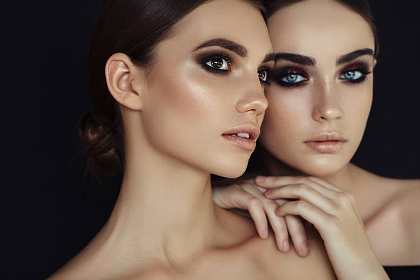 Portrait of a fresh and lovely women Portrait of a fresh and lovely women ceremonial make up stock pictures, royalty-free photos & images